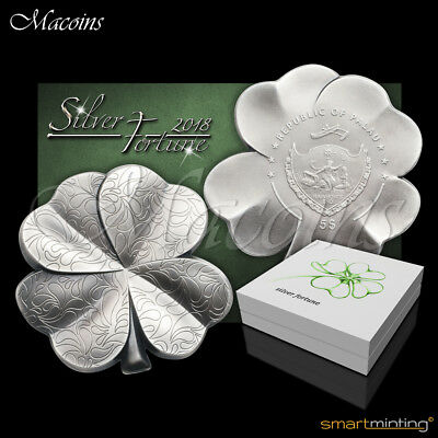 Four Leaf Clover Silver Fortune 2018 Palau 1 Oz 999 Silver Antiqued Coin