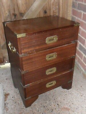 Vintage Military Campaign Chest Of Drawers & Brass Handles,4 Drawers-Collection