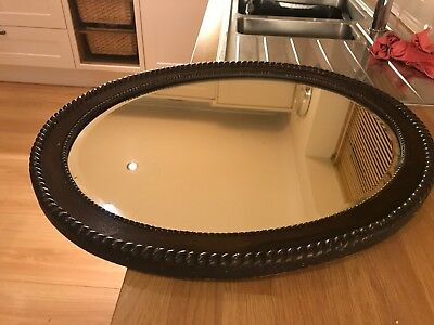 Vintage Antique Victorian     Oval  Bevelled Edge Wall Mirror