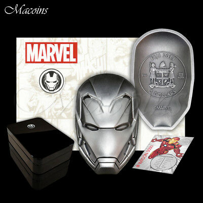 Iron Man Mask Marvel Icon Series 2019 Fiji 2 Oz 999 Silver Antiqued Coin