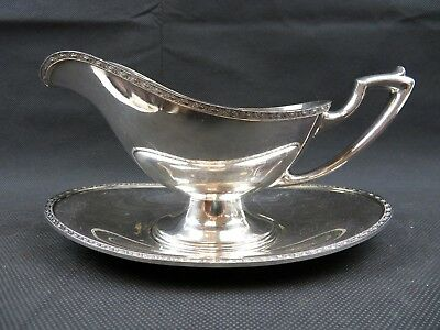 Art Deco Silver Plate Andover EPNS A1501 GRAVY BOAT AND TRAY