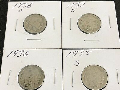 Buffalo Nickel Lot Of 4 1935 S, 1936 , 1936 D And 1937 S