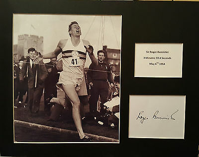 ROGER BANNISTER Signed 14x11 Photo Display 4 MINUTE MILE COA