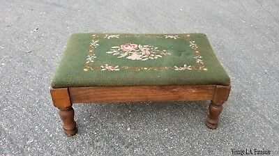 Antique French Country Green Tapestry Footstool w Floral Needlepoint