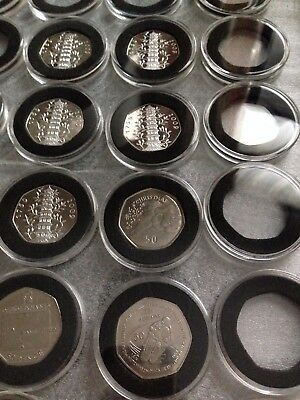 38 or 40 mm ACRYLIC COIN CAPSULES WITH INSERT FOR 50 pence coins(1,5,10,20 pcs)