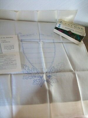 Vintage Hand Embroidery Linen Cloth of CLAN CAMERON Shield Kit + Box of Threads