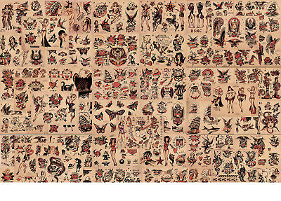 "Sailor Jerry Traditional Tattoo Flash 48 Sheets 11x14"" Set 5 USN, Indians, Girls"