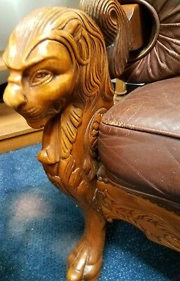 Vintage oak sofa couch and chair set carved griffins leather R J Horner style