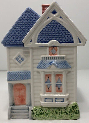 """Welcome Ind. Townhouse Cookie Jar Canister 1988 Ceramic 10"""" tall Home Decor"""