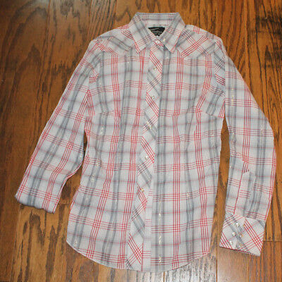 Boys Vintage NWOT Size 14 Red White Gray Champion Westerns Long Sleeve Shirt