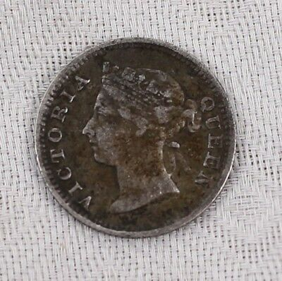 1896 Straits Settlements British Crown Colony 5 Cent Silver Coin Queen Victoria
