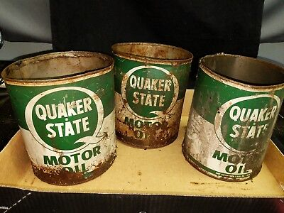 Three Quaker State Vintage Motor Oil Cans 1 gallon