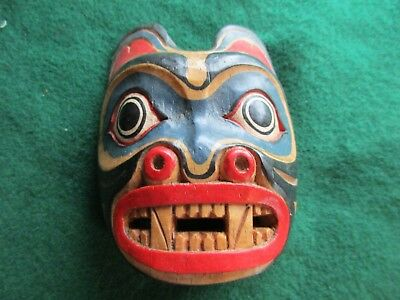 Classic Northwest Coast Design, Carved Wooden Ceremonial Effigy Mask,  Wy-02539B