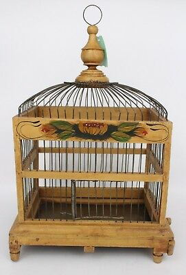 Vintage Inspired Wood & Metal Wire Bird Cage Spring Door Metal Pullout Tray