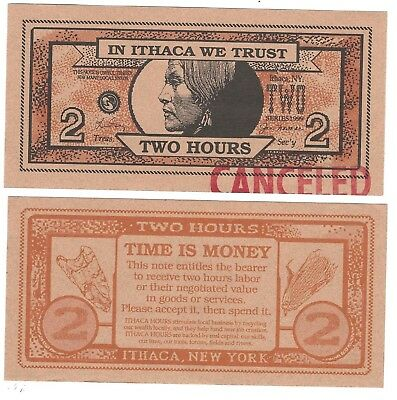 Ithaca Hours Two Hour Note--Local Currency From Ithaca, NY Series 1999