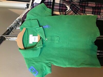 Ralph Lauren Infant Baby Polo GREEN/Blue  Romper Outfit Short Sleeve 3M