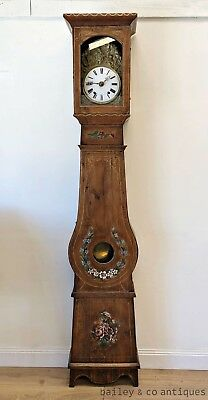 Antique French Comptoise Grandfather Clock Hand Painted Rare Provincial - TM154