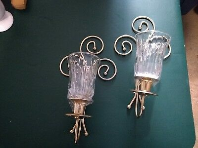 Home Interiors  14'' Brass Wall Sconces Set of 2 [ with votive cups ] demos euc