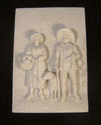 Vintage Alabaster Plaque Bas Relief of a Shepherding Scene: Reconstituted Stone
