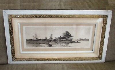 1891 E.L. FIELD Drypoint Etching~OLD DUTCH HAMLET~Artist Signed Remarque Proof!