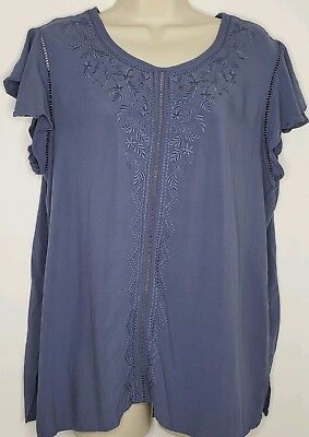 b95249e525b5b7 TIME AND TRU Women s XXL Blue Cold Shoulder Short Sleeve Top Floral ...