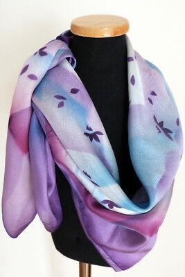 """Hand-Painted CLEO Multi-Color Purple Floral Vintage Pure Silk Scarf 29"""" Square"""