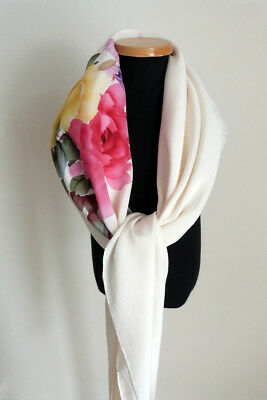 """SHENG RAN Multi-Color Floral Butterfly on White Pure Silk Scarf 42"""" Square"""
