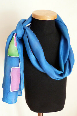 """Hand-Painted Artist Signed Multi-Color Geometric Pure Silk Scarf 58"""" Oblong"""