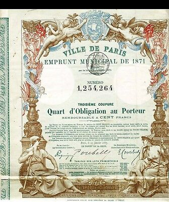emprunt municipal ville de paris 1871 Quart d'obligation au porteur 21 coupons