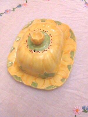 Vintage H J Wood Butter or Cheese Dish Handpainted