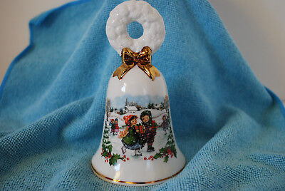 Avon Christmas 1986 Porcelain Bell Holiday Collector Children Ice Skaters