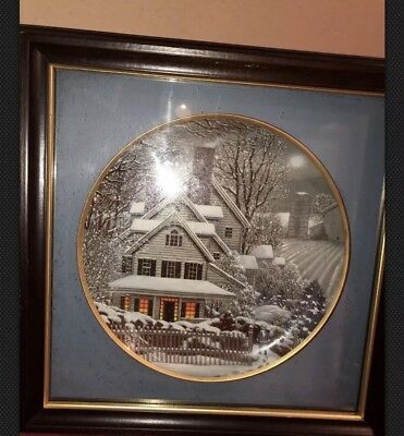"""Franklin Mint Heirloom Winter Home 8.5""""  Framed Plate  GREAT CONDITION"""