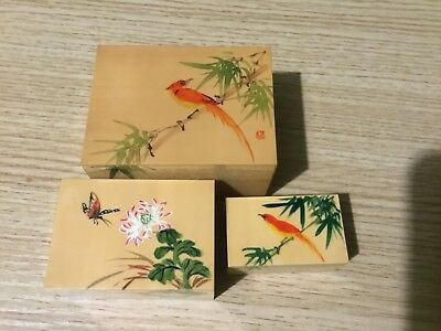Vintage Japanese  Lacquer wooden Hand Paited Nesting boxes x 3  Signed