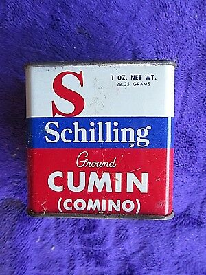 """Antique Collectable Vintage """"shilling's Cumin"""" Spice Tin Vintage Old      Dr17A"""