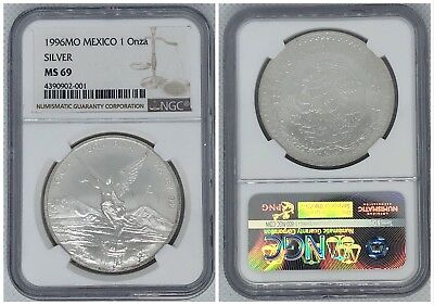 1996 Mo Mexico 1 Onza Silver NGC MS 69 / LIBERTAD / ONLY 1 HIGHER