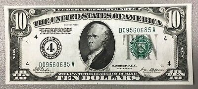 """1928 $10 U.s. Federal Reserve Note """"redeemable In Gold"""" ~ Unc Condition! Nr!"""