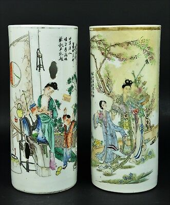 Two Chinese Porcelain Hat Tube - Early 20th Century Republic Period