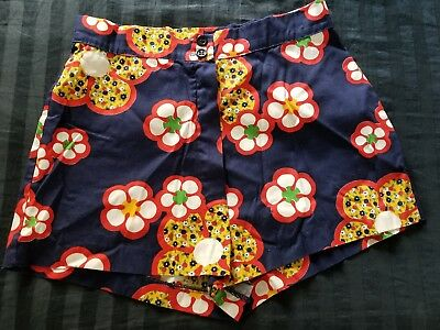 60s 70s Psychedelic Floral Vintage Shorts Navy Red Yellow Mod Hippie High Waist
