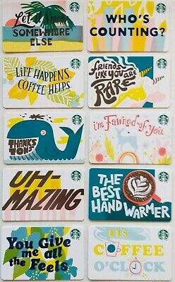 Starbucks Card 2019 10 Recycled Paper Winter Gift Card Set Lot