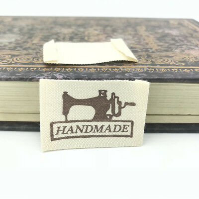 50X HANDMAD Printing cloth Tag Washable Clothing Woven Labels Sewing Accessorie
