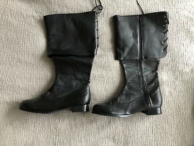 Halloween Costume Black Pirate Boots Size 12