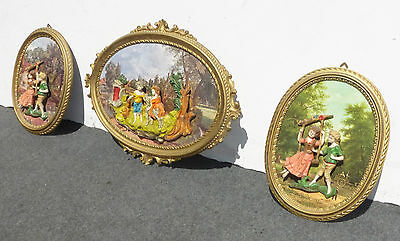 Vintage Italian Framed Set of 3 Ornate Gold Figural Wall Pictures Made in Italy