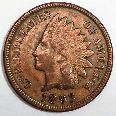 1893 Indian Head Penny Beautiful High Grade Coin  Rare Date Full Liberty