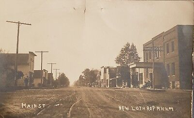 NEW LOTHROP MICHIGAN STREET VIEW Real Photo Postcard RPPC Shiawasee County