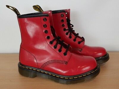 Dr. Martens Ladies Girls Patent Cherry Red Ankle Boots, UK 3