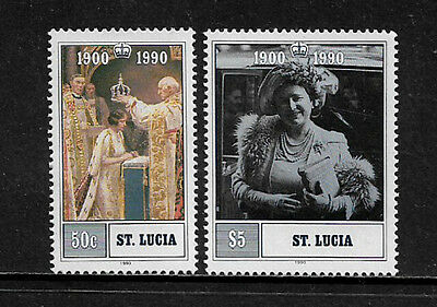 [X-355] St. Lucia #969-70 MNH Set - Queen Mother's 90th Birthday