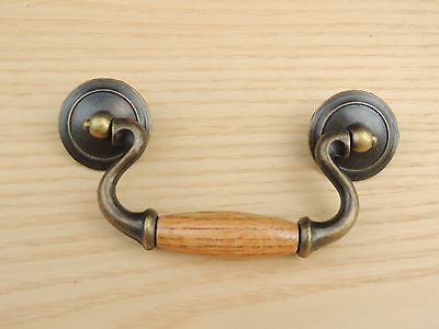 8 New Dark Antique Brass w/finished Oak center Drawer Pulls Cabinet Hardware