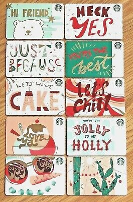 Starbucks 2018 10 Recycled Holiday Christmas Gift Card Set
