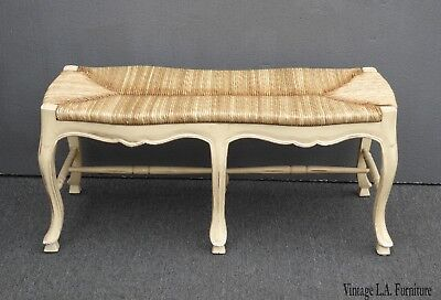 Vintage French Country Rush Seat Creme Bench