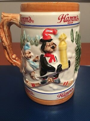 1986 Hamm's Beer Stein -  Bear Winter Skiing